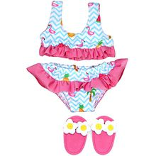 Flamingo-Bikini mit Badeschläppchen, Gr. 35-45 cm, Puppenkleidung