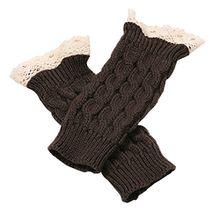 Bluelans® Armstulpen Pulswärmer lang fingerlos Handschuhe Damenhandschuhe Winterhandschuhe Fäustlinge Fausthandschuhe (Dunkelgrau)