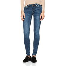 Noisy may Damen Slim Nmeve LW Pocket Piping Jeans VI877 Noos, Blau (Dark Blue Denim), W28/L32 (Herstellergröße: 28)