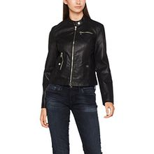 VERO MODA Damen Jacke Vmchanine Short PU Jacket Boos, Schwarz (Black Beauty Black Beauty), 38 (Herstellergröße: M)