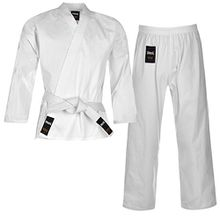 Lonsdale Kinder Karate Anzug Kampfkunst Kampfsport Kimono Karateanzug Baumwolle Weiss 11-12(140)