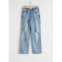 Straight Mid Rise Distressed Jeans - Blue