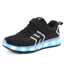 Kinder Schuhe mit Licht LED Schuhe USB Aufladen Leuchtend Sportschuhe Sneaker Laufschuhe Turnschuhe Trainer Blinkschuhe Schuhe für Mädchen Jungen Schwarz 37