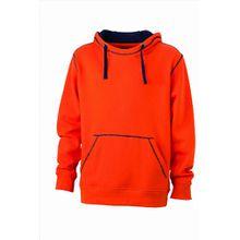 James & Nicholson Herren Sweatshirt Kapuzensweatshirt Men's Lifestyle Hoody orange (dark-orange/navy) XXX-Large