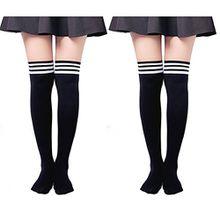 UClever Damen Lange Overknee Überknie Strümpfe Knie Struempfe Mädchen Hold-up-Strümpfe Schüler Knitting Sportsocken (2 Paar schwarz)