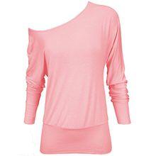 Damen-Oberteil, lange Fledermausärmel, eine Schulter frei, Übergröße, weit geschnitten Gr. 38-40, Baby Pink - Stylish Full Sleeve Stretchable Shirt