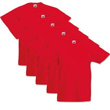 5 Fruit of the loom Kinder T Shirts 104 116 128 140 152 164 Viele Farben 100%Baumwolle (128, Rot)