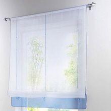 Souarts Blau Gardine Raffgardinen Vorhang Raffrollo Schlaufenschal Deko für Wohnzimmer Schlafzimmer Studierzimmer 100*155cm