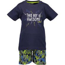 BLUE SEVEN T-Shirt + Sweatshorts navy / neongrün / weiß