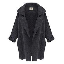 Übergroßer hergestellter Kragen Mantel für Damen,FRIENDGG Frauen Mädchen Langarm Mode Lässig Täglich Herbst Winter Elegante Lose Gestrickte Pullover Strickjacke Outwear Jacke (Tief grau, Freie Größe)