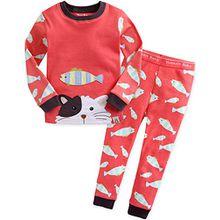 Vaenait Baby Kinder Maedchen Nachtwaesche Schlafanzug-Top Bottom 2 Stueck Set Secret Kitty M