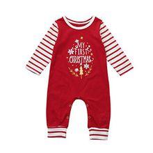 Babykleidung Festliche Mädchenkleider Hirolan Neugeborene Strampler Weihnachten Walkoverall Baby Winteranzug Jungen Beschriftung Strampelhöschen Lange Ärmel Schlaf Strampler Outfit (70, Rot)