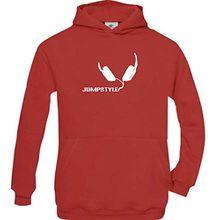 Shirtstown Kinder Kapuzenpullover Jumpstyle Musik Kopfhörer Headphone Music Club kult, rot, Größe 152/164