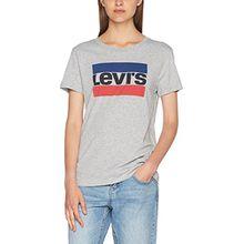 Levi's Damen T-Shirt The Perfect Tee, Grau (Sportswear Logo Smokestack HTR 0303), Gr. L