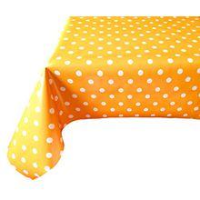 Wachstischdecke Gartentischdecke, Küchentischdecke Kleine Punkte Sortiment nach Öko Tex® Standard 100 (140 cm Rund, Dunkelgelb/ Orange)