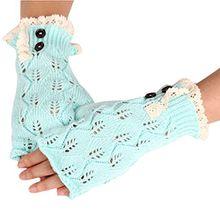 Bluelans® Armstulpen Pulswärmer fingerlos Handschuhe Damenhandschuhe Winterhandschuhe Fäustlinge Fausthandschuhe (Minze Blau)