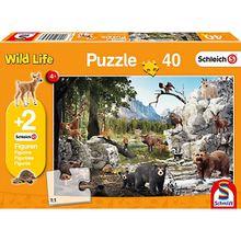 Puzzle 100 Teile Die Tiere des Waldes + 2 Schleich®-Figuren