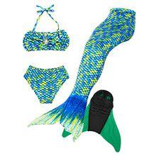 Superstar88 Meerjungfrau Badeanzug Mädchen Niedliche Meerjungfrau Kostüm 3pcs Bikini-Sets,Hochwertige und Niedliche Kinder Schwimmflossen (130, Grün Flossen einschließen)