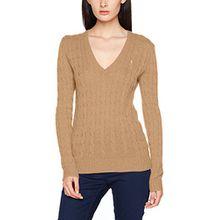 Polo Ralph Lauren Damen Pullover Kimberly-Classic-Long Sleeve-Sweater, Beige (Camel Mel 2V5O), 44 (Herstellergröße: L)
