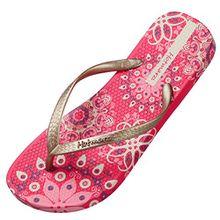 Hotmarzz Damen Zehentrenner Böhmen Blumen Sommer Sandalen Flip Flops Badeschuhe Size 41 EU/42 CN, Rot