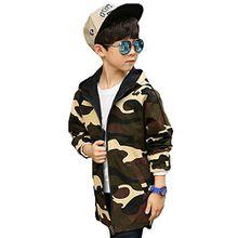 Hibote Jungen 2 in 1 Jacke - doppelseitige Camouflage & schwarze Kapuzenjacke Mantel