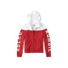 Abercrombie & Fitch Sweatshirt 'JUN 4 CORE LOGO PRINT FZ 5CC' rot / weiß