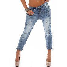 Rock Angel Damen Boyfriend Jeans LRA-043 Schmetterling-Prints middle blue XS