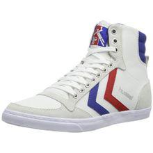 hummel HUMMEL SLIMMER STADIL HIGH, Unisex-Erwachsene Hohe Sneakers, Weiß (White/Blue/Red/Gum), 45 EU (10.5 Erwachsene UK)