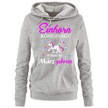 Einhorn Königinnen wurden im März geboren ! Damen HOODIE Sweatshirt mit Kapuze Grau, Gr.M