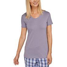 Schiesser Damen Schlafanzugoberteil Mix & Relax Shirt 1/2 Arm, Gr. 50, Grau (hellgrau 204)