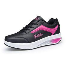 KUAIKUHEI Damen Sneaker Schuhe Sportschuhe Bequem Schnürer Plateau mit Keilabsatz Fitness Laufschuhe Freizeitschuhe,XZ8372-blackrose-EU41,Asia42
