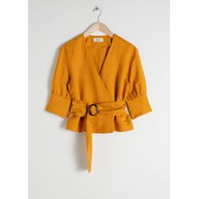 Belted Linen Blend Blouse - Yellow