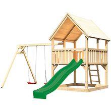 Spielturm Luis mit Satteldach, Doppelschaukel und Rutsche grün