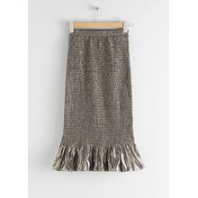 Smocked Metallic Midi Ruffle Skirt - Beige