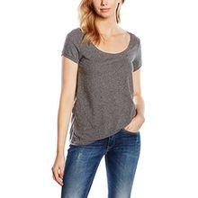 Hilfiger Denim Damen T-Shirt Original Melange Sn Knit s/s, Grau (Tommy Black 078), L (Herstellergröße: L)