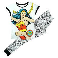Damen offiziell DC Comic Aufdruck Wonder Woman Geschenk Schlafanzüge Übergrößen from 8 to 22 - Mehrfarbig, Size 12-14