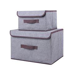 2er Set Aufbewahrungsboxen, aus Baumwolle und Leinen, klappbar mit Deckel. Zum Aufbewahren von Kleidung, Socken, Spielzeug, Snacks und Kleinteilen grau