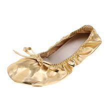 MagiDeal Ballerinas Spitzenschuh Ballet für Mädchen/Damen Tanzschuhe mit Pailletten - Gold, L
