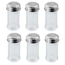 Viva Haushaltswaren 6 x Mini Zuckerstreuer/Zuckerspender im American Style mit Deckel, Zuckerdose aus Glas als Zuckerdosierer verwendbar (Ø 4,5 cm)