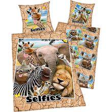 Wende- Kinderbettwäsche Afrika-Selfie, Renforcé, 135 x 200 cm