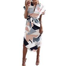 Minetom Damen Sommerkleider V-Ausschnitt Kurzarm Blumenmuster MaxiKleider Abendkleid Lange Strandkleid Weiß DE 38