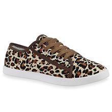 Stiefelparadies Damen Sneakers Freizeit Sport Schnürer Stoff Top Schuhe 68696 Leopard Avelar 37 Flandell