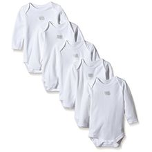 Mamas & Papas Unisex Baby Body 5 Pack Essential Long Sleeve, 5, Wei (White S41ZC17), 74