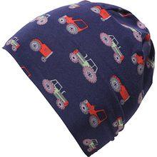 Beanie mit UV-Schutz 50+ , Traktor dunkelblau Jungen Kleinkinder