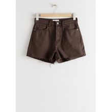 Raw Edge Denim Shorts - Brown