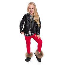 Hi! Mom WINTER KINDER LEGGINGS volle Länge Baumwolle Kinder Hose Thermische Material jedes Alter child28 - Rot, 122-128