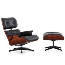 Vitra - Eames Lounge Chair XL & Ottoman Mahogany, Sapeli Mahagoni / Leder Premium nero / UG poliert, Seiten schwarz, neue Maße, Filzgleiter