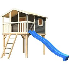 Stelzenhaus Benjamin terragrau mit Rutsche blau