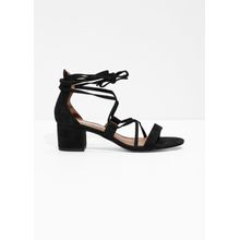 Lace Up Heeled Sandals - Black