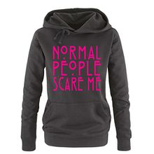 Comedy Shirts - Normal People Scare Me - Damen Hoodie - Schwarz / Pink Gr. XL